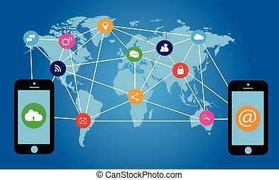 modern technology background with media icons, mobile phones...