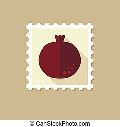 Garnet flat stamp with long shadow, eps 10