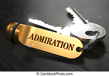 Keys with Word Admiration on Golden Label - Keys with Word...