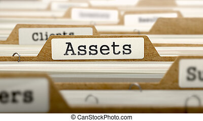 Assets Concept with Word on Folder. - Assets Concept. Word...