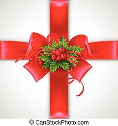 Christmas ribbon decoration. Vector illustration