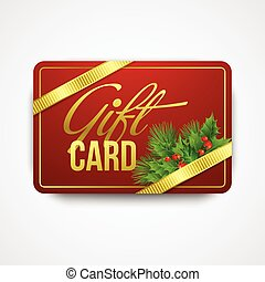 Christmas gift card with holly. Vector illustration