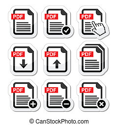 PDF download and upload icons set - Color PDF document...