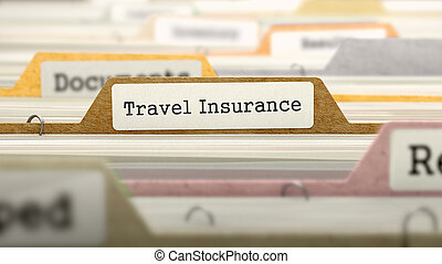 File Folder Labeled as Travel Insurance in Multicolor...
