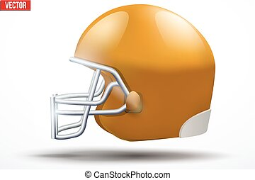 Realistic American football helmet. Side view.
