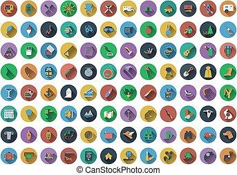 Cielna, komplet, Od, koło, płaski, projektować, ikony,