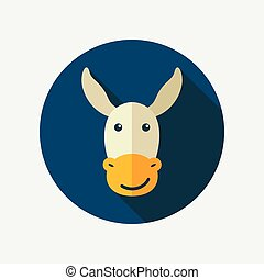 Donkey flat icon with long shadow, eps 10