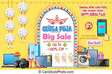 Happy Durga Puja background - illustration of Durga Puja...