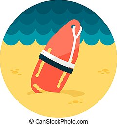 Torpedo rescue lifeguard buoy flat icon - Support, help and...