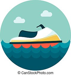 Jet Ski flat icon, vector illustration eps 10