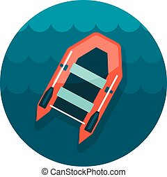 Inflatable boat flat icon, vector illustration eps 10