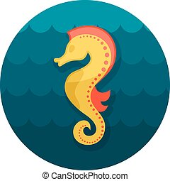 Sea Horse flat icon, vector illustration eps 10