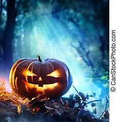 Halloween Pumpkin In A Forest - Halloween Pumpkin In A...