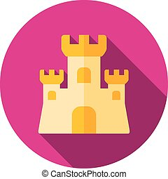 Sand Castle flat icon with long shadow, eps 10