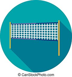 Volleyball net beach sport flat icon with long shadow, eps...