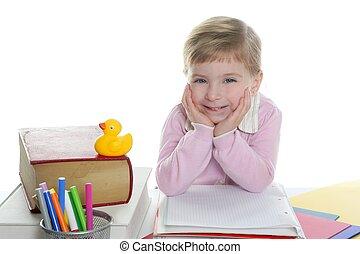 blond little student girl smiling