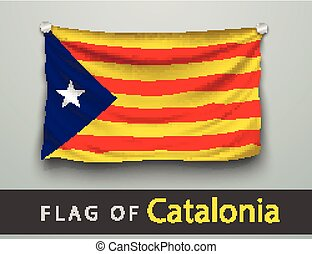 FLAG OF catalonia battered, hung on the wall