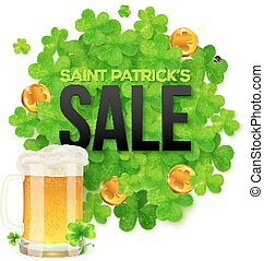 Saint Patricks Day SALE banner with clovers, golden coins...