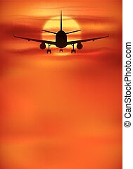 Orange sunset background with black plane silhouette