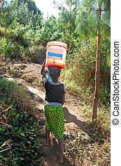 The precious water in the region of Kilolo, Tanzania Africa...