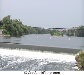 River and Waterfall Panorama view - Grand River Ontario...