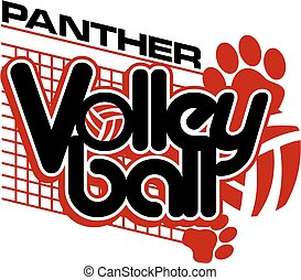 panther volleyball team design with paw prints and net