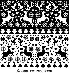 Christmas seamless folk pattern - Retro style black and...