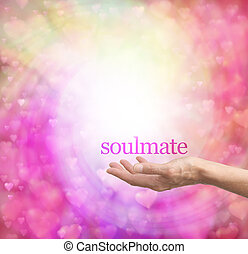 Seeking a soulmate - Female hand palm up with the word...