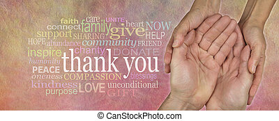 Website Header saying Thank You - Female hands cupped around...
