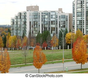 Autumn in the modern city - Richmond Hill Park,Ontario,...