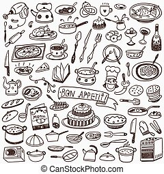 Cookery food doodles - Cookery food set icons in sketch...