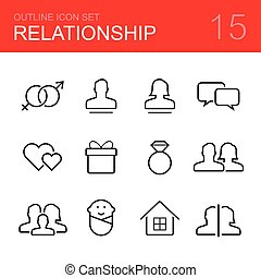 Relationship vector outline icon set - sex, man, woman,...