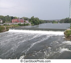 Waterfall. Panorama View. - Grand River. Ontario. Canada