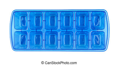 Ice cube tray - Top view of blue plastic ice cube tray...