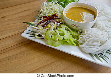 Noodles with Fish Curry - Thai Dish, in Thai Language we...
