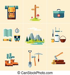Camping Equipment Icons. Flat Design. - Set of hiking and...
