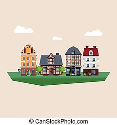 Old Vintage Country and City Houses Vector Illustration
