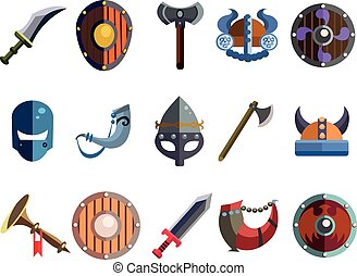 Viking Cartoon Weapon and Equipment. Game icons. - Set of...