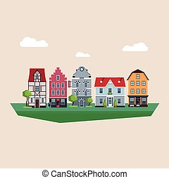 Old Traditional Eurpoean Vintage Houses Vector Illustration
