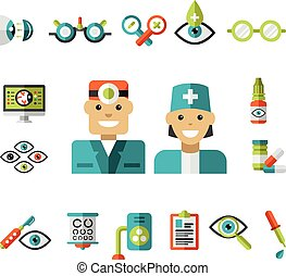 Optical icons, Ophthalmology Icons Set - Set of ophtalmology...