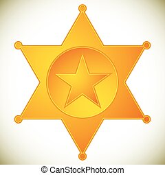 Classic western sheriff badge, sheriff star. Vector...