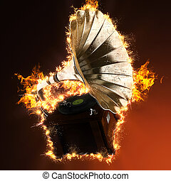 Vintage gramophone in fire