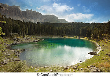 view of beautiful alpine lake - panoramic view of a...