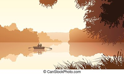 Boat on lake around trees. - Vector panorama illustration of...