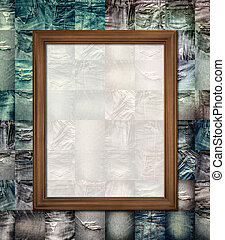 Wooden picture frame on collage jeans