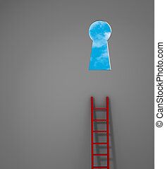 Opportunity Just Out Of Reach - A red ladder leans against a...