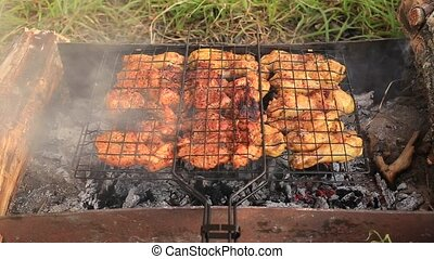 A healthy and wholesome food - On hot coals is grill with...