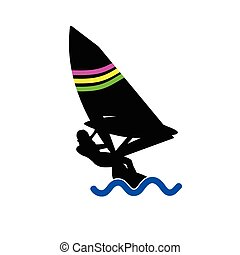 girl sailing on the sea vector
