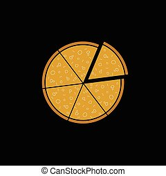 pizza on black background vector