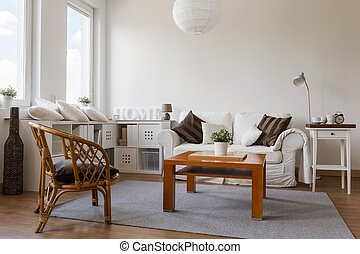 Cosy white living room - Image of cosy white living room in...